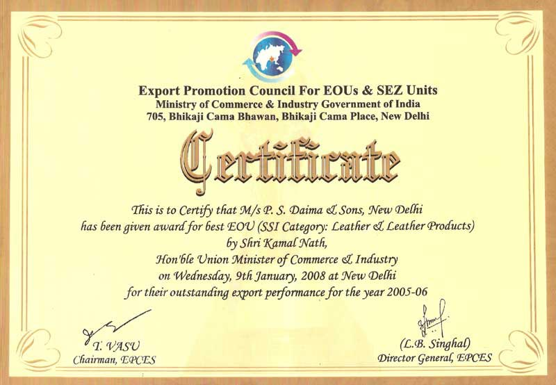Certifications Recognitions And Awards P S Daima Amp Sons